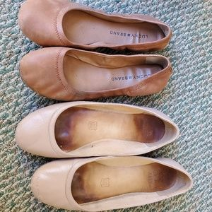 Brown and tan flats